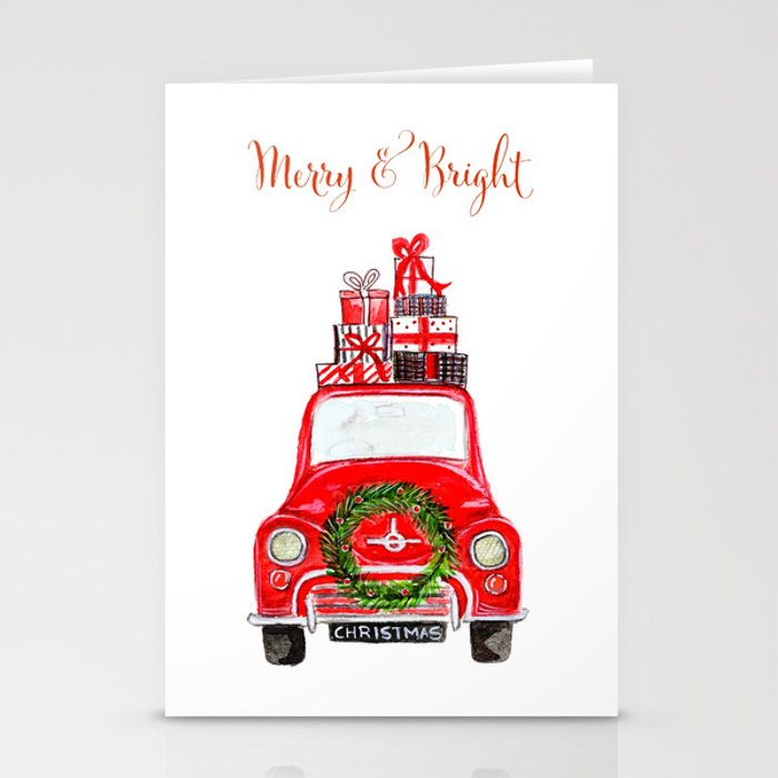 Red Christmas Car - white Stationery Cards by craftberrybush | Society6