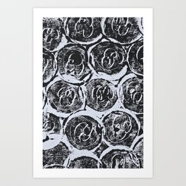 Rosettes Abstracted Black and White Art Print