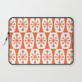 Mid Century Modern Atomic Fusion Pattern Orange Laptop Sleeve