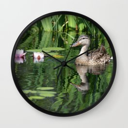 Momma Duck at Denver Botanic Gardens Wall Clock