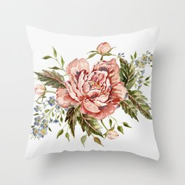 Pink Wild Rose Bouquet Throw Pillow