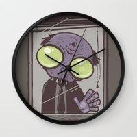 office Wall Clocks featuring Office Zombie by John Schwegel