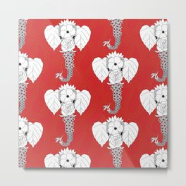 Flower Power Elephant Metal Print
