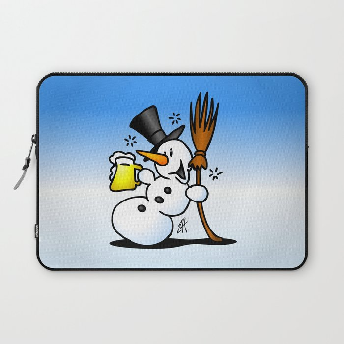 Snowman drinking a beer Laptop Sleeve