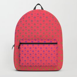 Ombre rainbow stars on red background Backpack