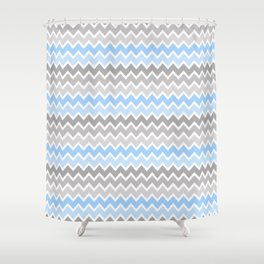 Grey Gray Blue Ombre Chevron Shower Curtain