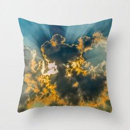 Sun Coming Through the Clouds Throw Pillow