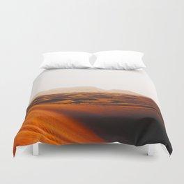 Minimalist Desert Landscape Sand Dunes With Distant Mountains Duvet Cover
