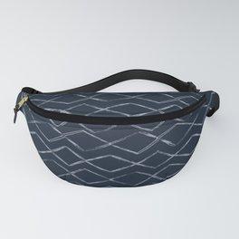 Dark Navy Blue Bohemian Tribal Mud Cloth Chevron Horizontal Stripe Diamond Pattern Fanny Pack