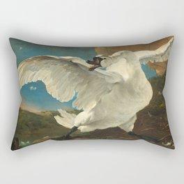 The Threatened Swan by Jan Asselijn Rectangular Pillow