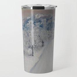 Winter Path, Original Contemporary Oil Painting, Modern Art, Fine Art by Lu aka Luna Smith Travel Mug