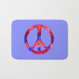 Patriotic Peace Sign Tie Dye Watercolor on Blue Bath Mat