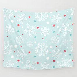 Christmas Snowflakes with Red and Blue Polka Dots Pattern Wall Tapestry