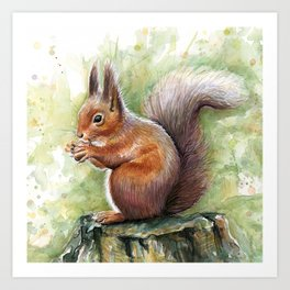 Squirrel and Nut Forest Animals Watercolor Art Print
