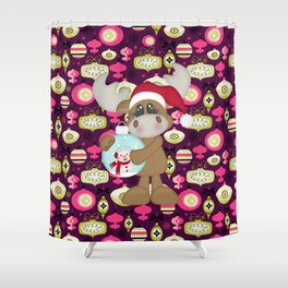Christmas Ornaments Moose Shower Curtain