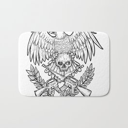 Eagle Skull Assault Rifle Drawing Bath Mat