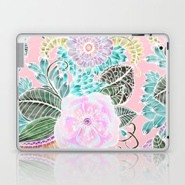 Blush pink lavender green white watercolor hand painted flowers Laptop & iPad Skin
