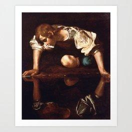 Narcissus by Caravaggio (1599) Art Print