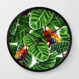 tropical leaves macaw pattern Wall Clock