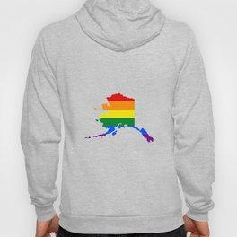 LGBT Flag Map of Alaska  Hoody