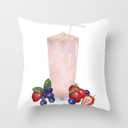 Strawberry Smoothie Throw Pillow