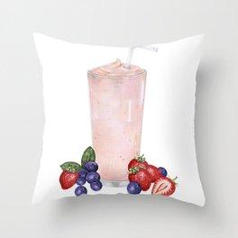 Strawberry Smoothie Throw Pillow