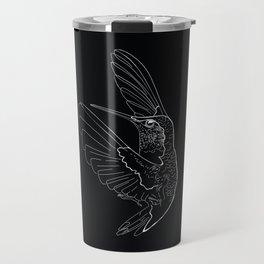 Hummingbird illustration on black background Travel Mug