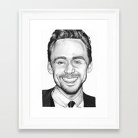 tom hiddleston Framed Art Prints featuring Tom Hiddleston by Angie Siketa