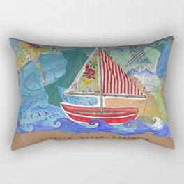 Explore Dream Discover - Sailboat Children's Art Rectangular Pillow