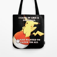 pokeball Tote Bags featuring Pokeball by Mie Kristensen