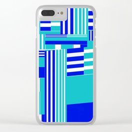 Stripy blue sea Clear iPhone Case