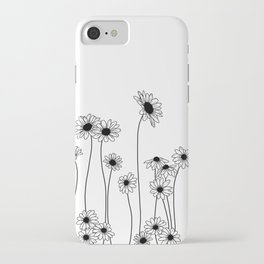 Minimal line drawing of daisy flowers iPhone Case