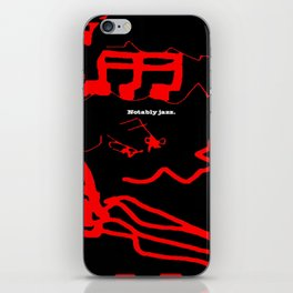 Notably jazz. Red on Black. (Available with or without lettering.) iPhone Skin