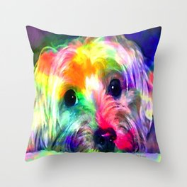 Colorful Yorkie By Annie Zeno  Throw Pillow
