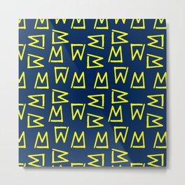 Abstract geometrical neon yellow navy blue tribal Metal Print