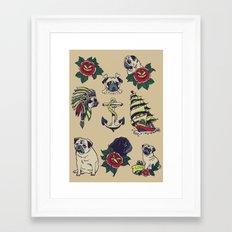 Pugs and the sea Framed Art Print