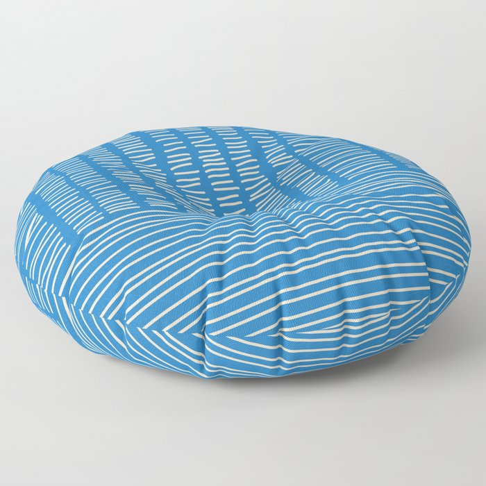 Digital Stitches detail 1 blue Floor Pillow