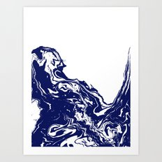 Indigo Wave water ocean abstract painting blue and white nautical trendy gender neutral dorm  Art Print
