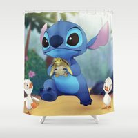 stitch Shower Curtains featuring Stitch by beastace