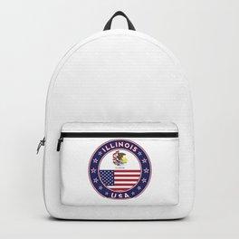 Illinois, Illinois t-shirt, Illinois sticker, circle, Illinois flag, white bg Backpack