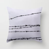 the wire Throw Pillows featuring Barbed Wire by tracy-Me
