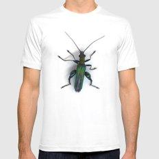 Thick Legged Flower Beetle - Oedemera Nobilis White MEDIUM Mens Fitted Tee