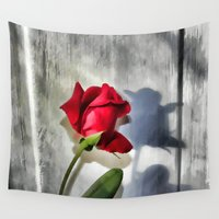 shadow Wall Tapestries featuring Red Rose Bud Shadow by Judy Palkimas