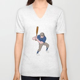 Baseball Player Batting Isolated Cartoon Unisex V-Neck