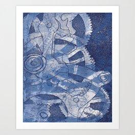 Gears- Blue Art Print