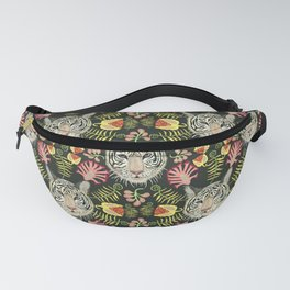 White Tiger Pattern / Black Background Fanny Pack