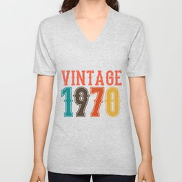 Vintage 1970 Birthday Gift Idea Unisex V-Neck