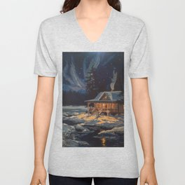 Blue Aurora Nights Unisex V-Neck