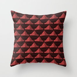Paper Hats Pattern | Dark Red Throw Pillow