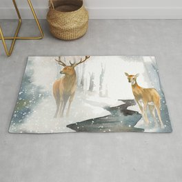 snowing forest Rug